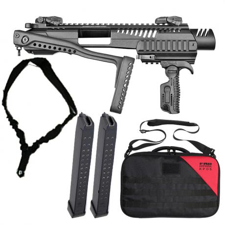 KPOS G2 G17 33 - Karabinová konverze KPOS G2 Glock 17, 19 standardní pažba, sklopná mířidla, kufr, popruh a 2x 33 ranný zásobník