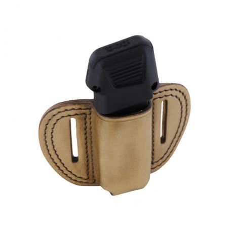 LB-MAG-G43 1Z OUT - Vnější kožené pouzdro na 1 zásobník Glock 43 a dvěma průvleky - hnědá