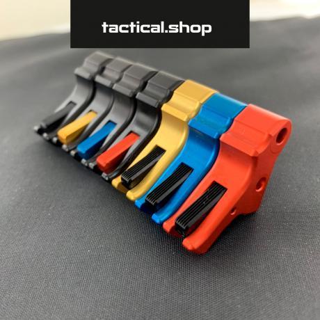 TOP-P10-BL-BE - Hliníková spoušť pro pistoli CZ P10-C černá spoušť - modrý jazýček